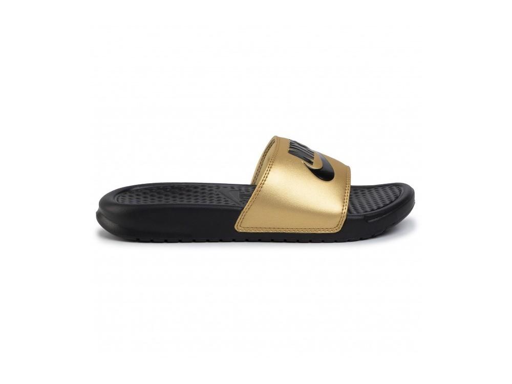 Nike Benassi WMNS Benassi JDI 343881 014 Negra y Dorada Mujer