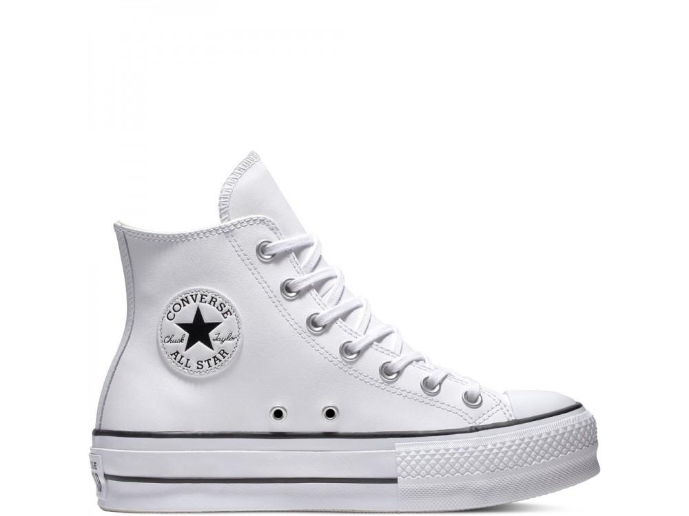 CONVERSE CHUK TAYLOR ALL STAR CTAS LIFT CLEAN HI BOTA PLATAFORMA PIEL 561676C BLANCAS