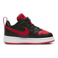 NIKE COURT BOROUGH LOW 2 (TDV) ZAPATILLA NIÑO BQ5453 007 NEGRA Y ROJA