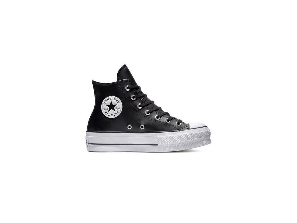 CONVERSE CHUK TAYLOR ALL STAR CTAS LIFT CLEAN HI BOTA PLATAFORMA PIEL 561675C NEGRAS